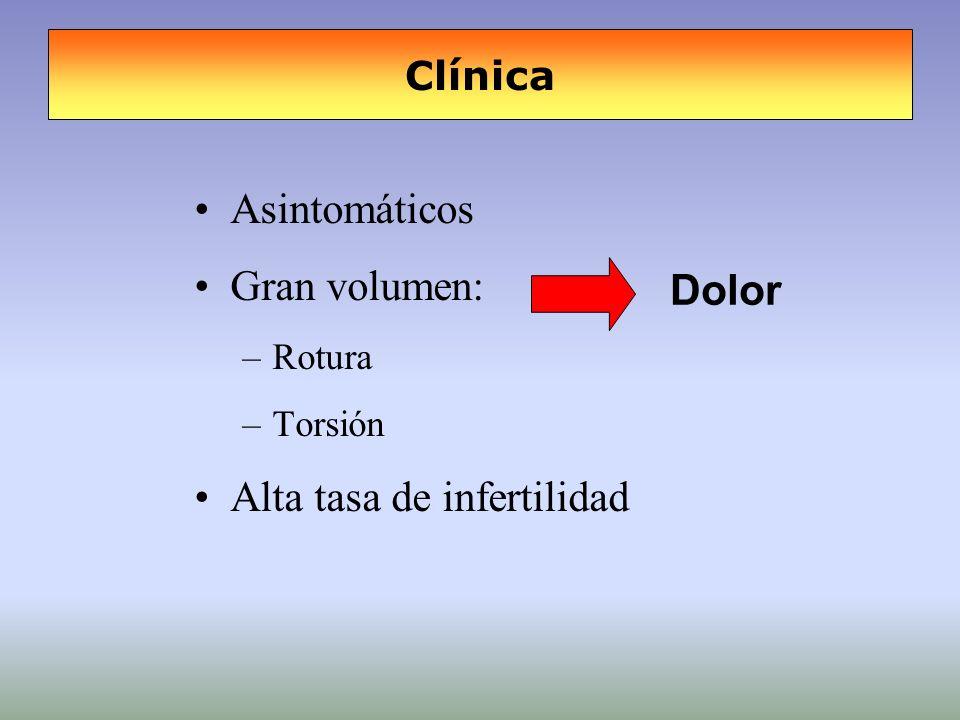 Clínica Asintomáticos Gran volumen: –Rotura –Torsión Alta tasa de infertilidad Dolor