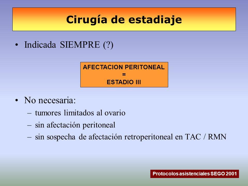 Cirugía de estadiaje Protocolos asistenciales SEGO 2001 Indicada SIEMPRE (?) No necesaria: –tumores limitados al ovario –sin afectación peritoneal –si