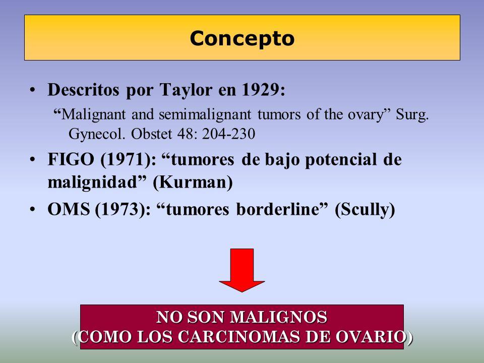 Descritos por Taylor en 1929: Malignant and semimalignant tumors of the ovary Surg. Gynecol. Obstet 48: 204-230 FIGO (1971): tumores de bajo potencial
