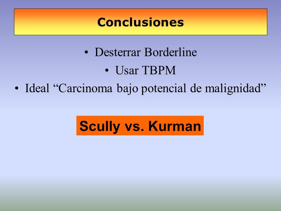 Conclusiones Desterrar Borderline Usar TBPM Ideal Carcinoma bajo potencial de malignidad Scully vs. Kurman