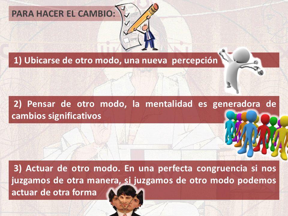 PARA HACER EL CAMBIO: 2) Pensar de otro modo, la mentalidad es generadora de cambios significativos 3) Actuar de otro modo. En una perfecta congruenci