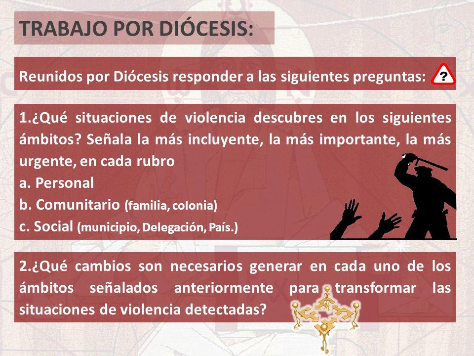 TRABAJO POR DIÓCESIS: Reunidos por Diócesis responder a las siguientes preguntas: 1.¿Qué situaciones de violencia descubres en los siguientes ámbitos?