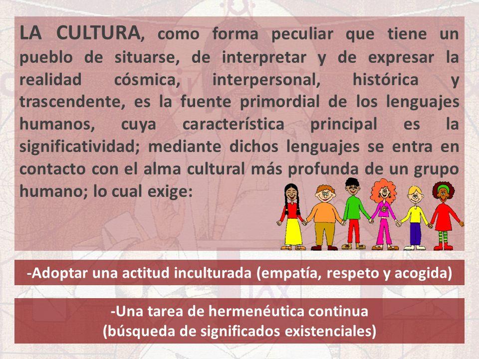 LA CULTURA, como forma peculiar que tiene un pueblo de situarse, de interpretar y de expresar la realidad cósmica, interpersonal, histórica y trascend