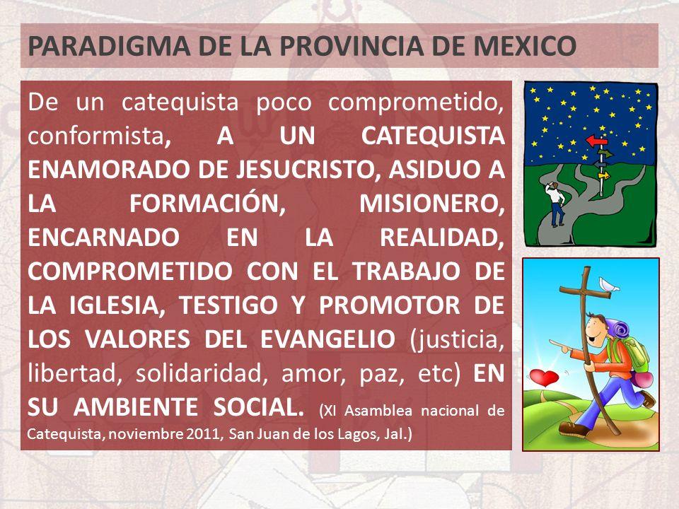 PARADIGMA DE LA PROVINCIA DE MEXICO De un catequista poco comprometido, conformista, A UN CATEQUISTA ENAMORADO DE JESUCRISTO, ASIDUO A LA FORMACIÓN, M