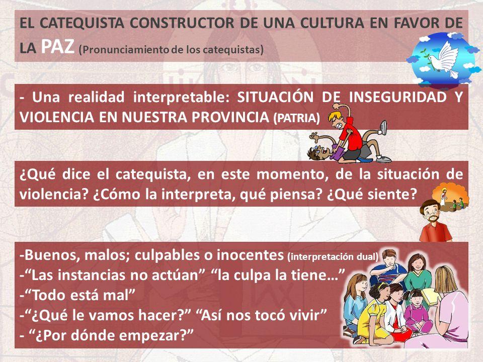 EL CATEQUISTA CONSTRUCTOR DE UNA CULTURA EN FAVOR DE LA PAZ (Pronunciamiento de los catequistas) ¿Qué dice el catequista, en este momento, de la situa