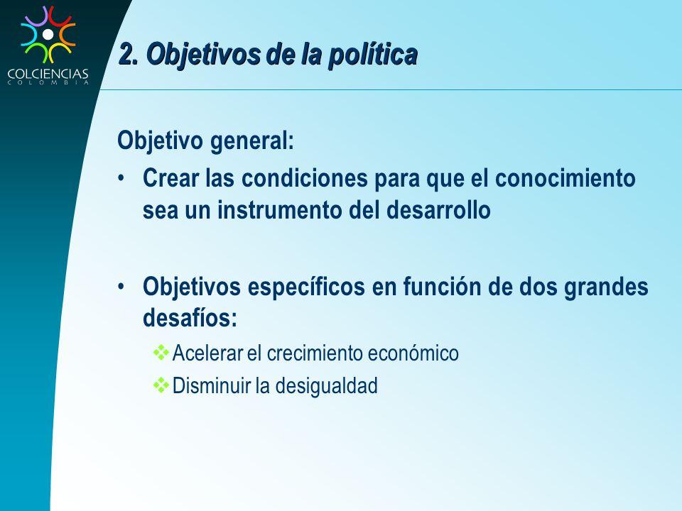 2. Objetivos de la política Objetivo general: Crear las condiciones para que el conocimiento sea un instrumento del desarrollo Objetivos específicos e