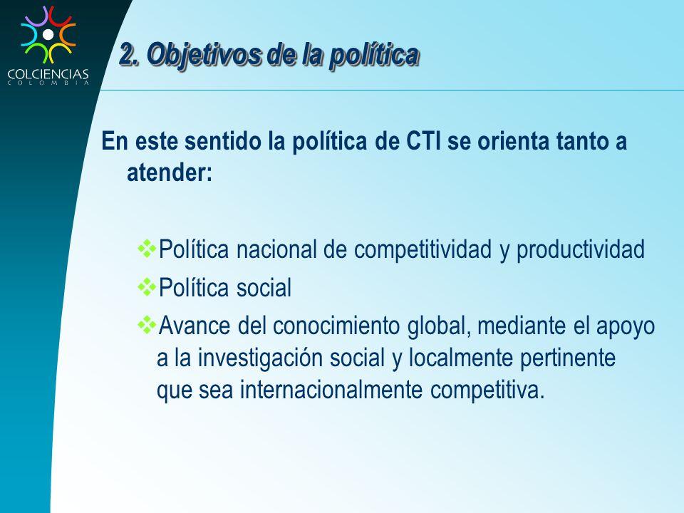 2. Objetivos de la política En este sentido la política de CTI se orienta tanto a atender: Política nacional de competitividad y productividad Polític