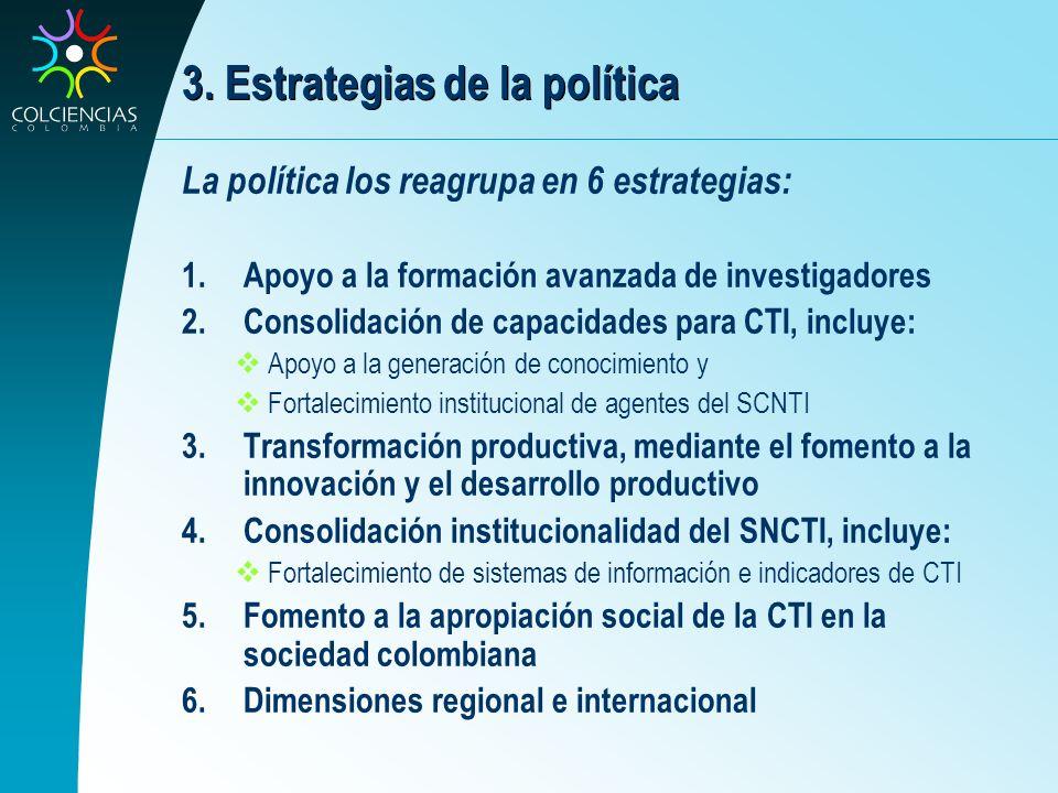 3. Estrategias de la política La política los reagrupa en 6 estrategias: 1.Apoyo a la formación avanzada de investigadores 2.Consolidación de capacida