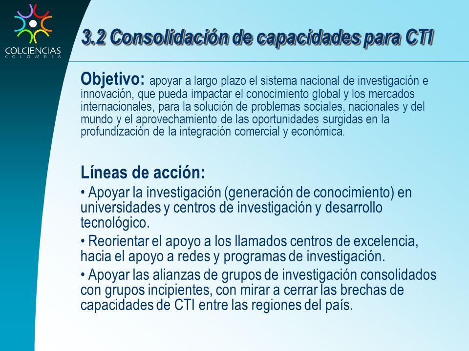 3.2 Consolidación de capacidades para CTI Objetivo: apoyar a largo plazo el sistema nacional de investigación e innovación, que pueda impactar el cono