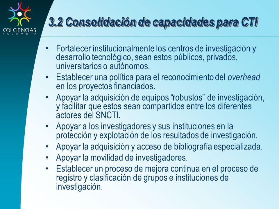 3.2 Consolidación de capacidades para CTI Fortalecer institucionalmente los centros de investigación y desarrollo tecnológico, sean estos públicos, pr