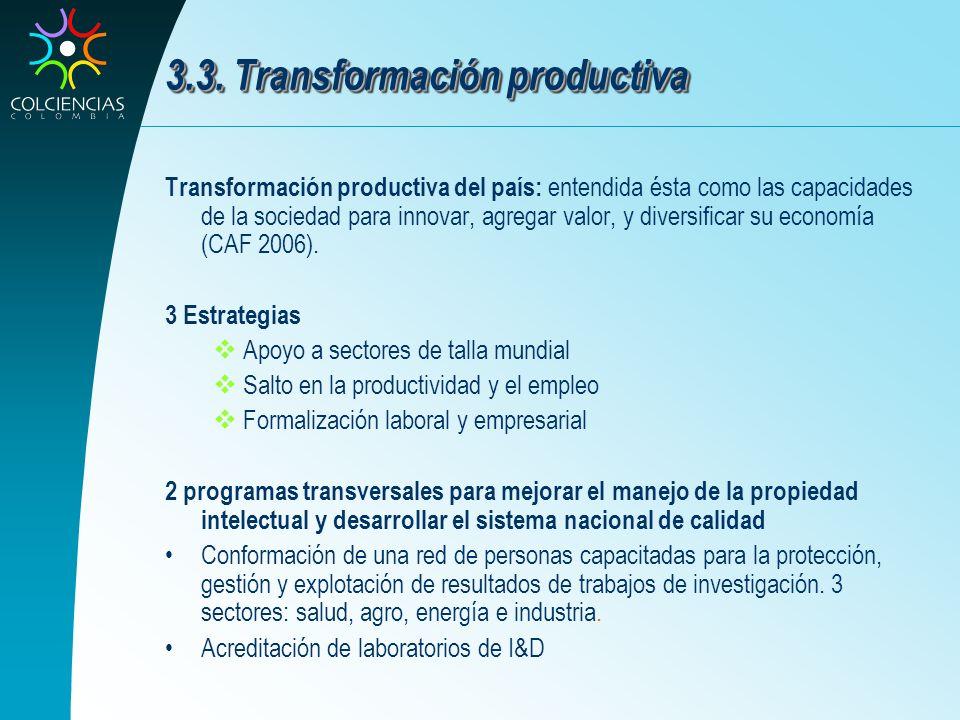 3.3. Transformación productiva Transformación productiva del país: entendida ésta como las capacidades de la sociedad para innovar, agregar valor, y d