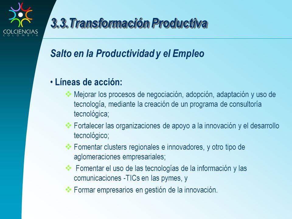 3.3.Transformación Productiva Salto en la Productividad y el Empleo Líneas de acción: Mejorar los procesos de negociación, adopción, adaptación y uso