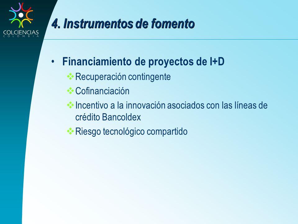 4. Instrumentos de fomento Financiamiento de proyectos de I+D Recuperación contingente Cofinanciación Incentivo a la innovación asociados con las líne