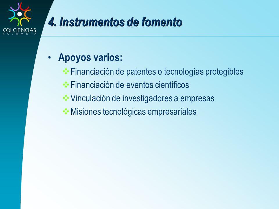 4. Instrumentos de fomento Apoyos varios: Financiación de patentes o tecnologías protegibles Financiación de eventos científicos Vinculación de invest