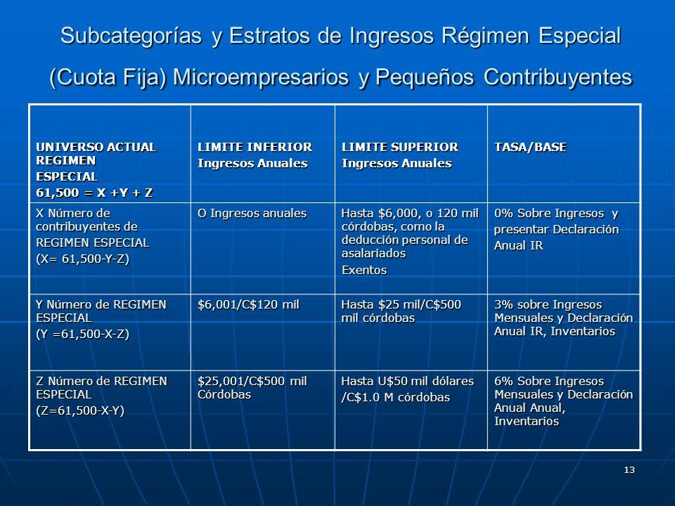13 Subcategorías y Estratos de Ingresos Régimen Especial (Cuota Fija) Microempresarios y Pequeños Contribuyentes UNIVERSO ACTUAL REGIMEN ESPECIAL 61,5