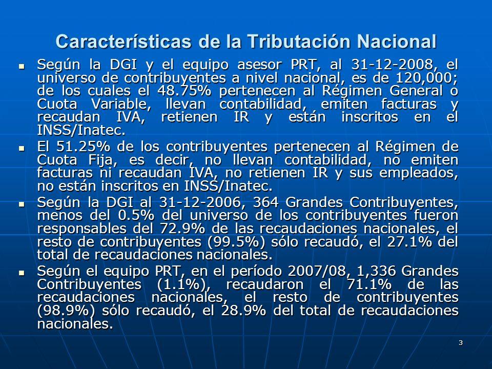 4 Características de la Tributación Municipal No existen estadísticas a nivel nacional sobre el tamaño de la base de contribuyentes de las 153 Alcaldías y de los dos Gobiernos Regionales Autónomos (GRAAN y GRAAS); sin embargo en teoría, la base de contribuyentes de algunos impuestos como el Impuesto de Matricula Anual (IMA), Impuesto Mensual al Ingreso (IMI), debería ser similar a la base de contribuyentes que recaudan, declaran y pagan IVA y Anticipos IR mensualmente, en las Administraciones de Rentas y Agencias Fiscales del país.