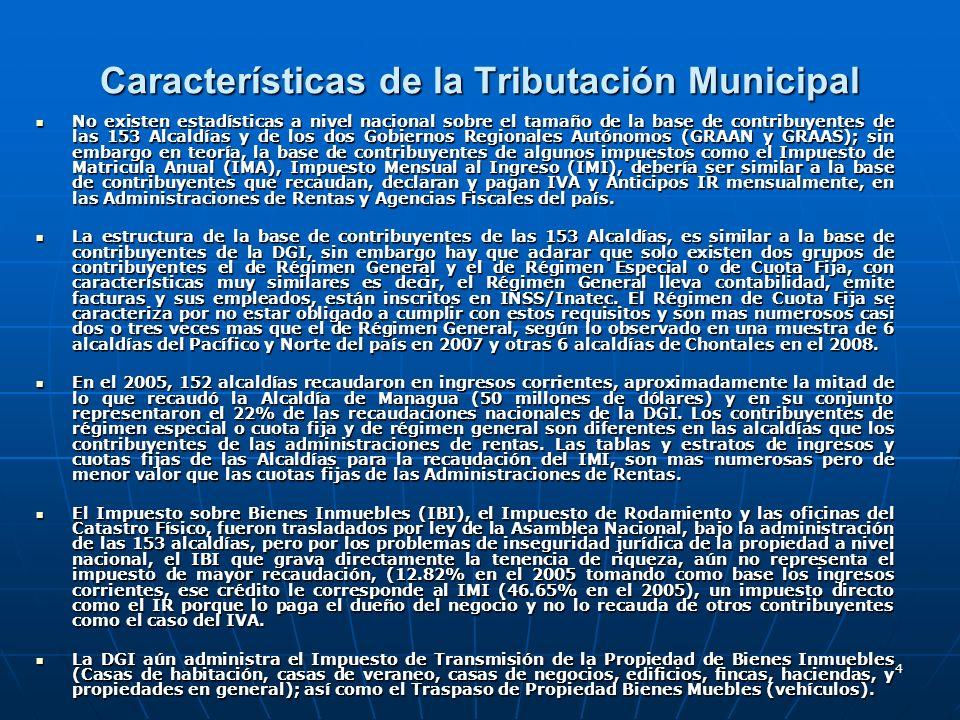 4 Características de la Tributación Municipal No existen estadísticas a nivel nacional sobre el tamaño de la base de contribuyentes de las 153 Alcaldí