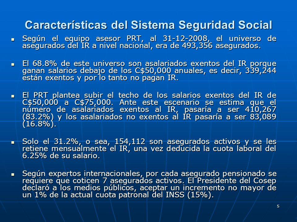 5 Características del Sistema Seguridad Social Según el equipo asesor PRT, al 31-12-2008, el universo de asegurados del IR a nivel nacional, era de 49