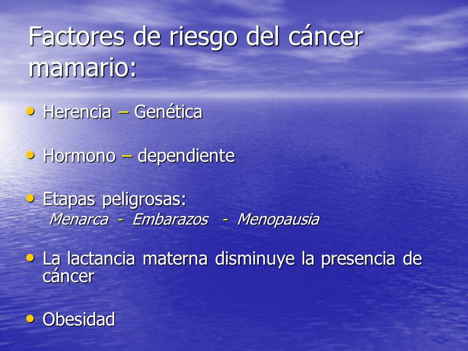 Factores de riesgo del cáncer mamario: Herencia – Genética Herencia – Genética Hormono – dependiente Hormono – dependiente Etapas peligrosas: Etapas peligrosas: Menarca - Embarazos - Menopausia La lactancia materna disminuye la presencia de cáncer La lactancia materna disminuye la presencia de cáncer Obesidad Obesidad