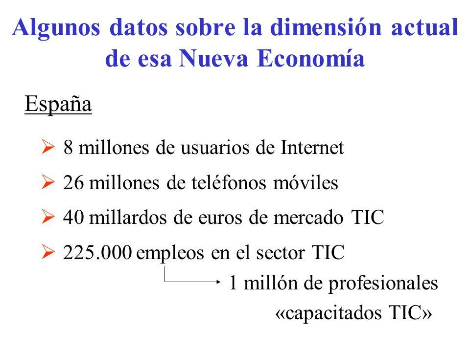 España 8 millones de usuarios de Internet 26 millones de teléfonos móviles 40 millardos de euros de mercado TIC 225.000 empleos en el sector TIC 1 mil