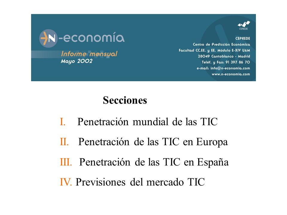 Secciones I. Penetración mundial de las TIC II. Penetración de las TIC en Europa III. Penetración de las TIC en España IV. Previsiones del mercado TIC