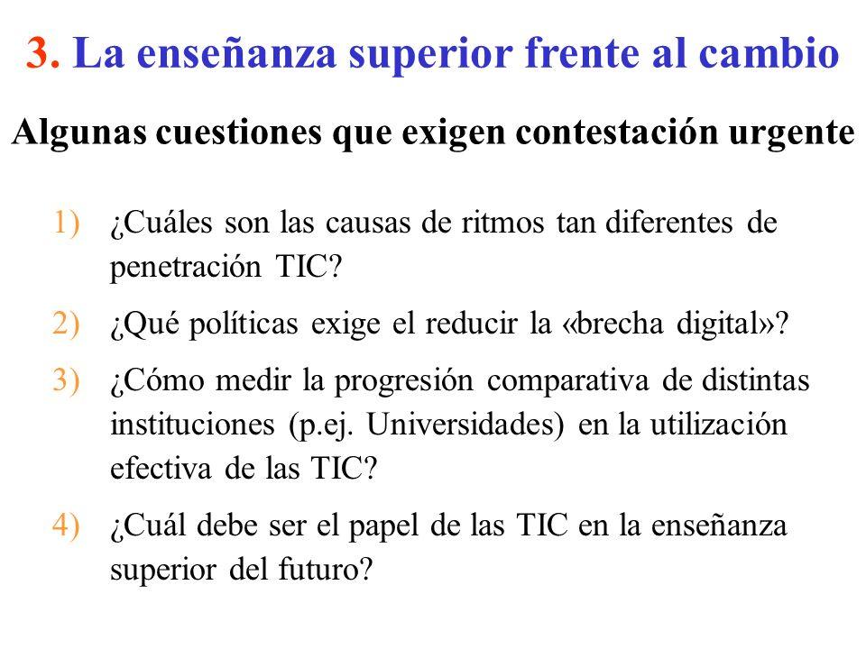 1)¿Cuáles son las causas de ritmos tan diferentes de penetración TIC? 2)¿Qué políticas exige el reducir la «brecha digital»? 3)¿Cómo medir la progresi
