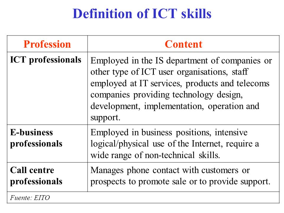 Definition of ICT skills ProfessionContent ICT professionals Employed in the IS department of companies or other type of ICT user organisations, staff
