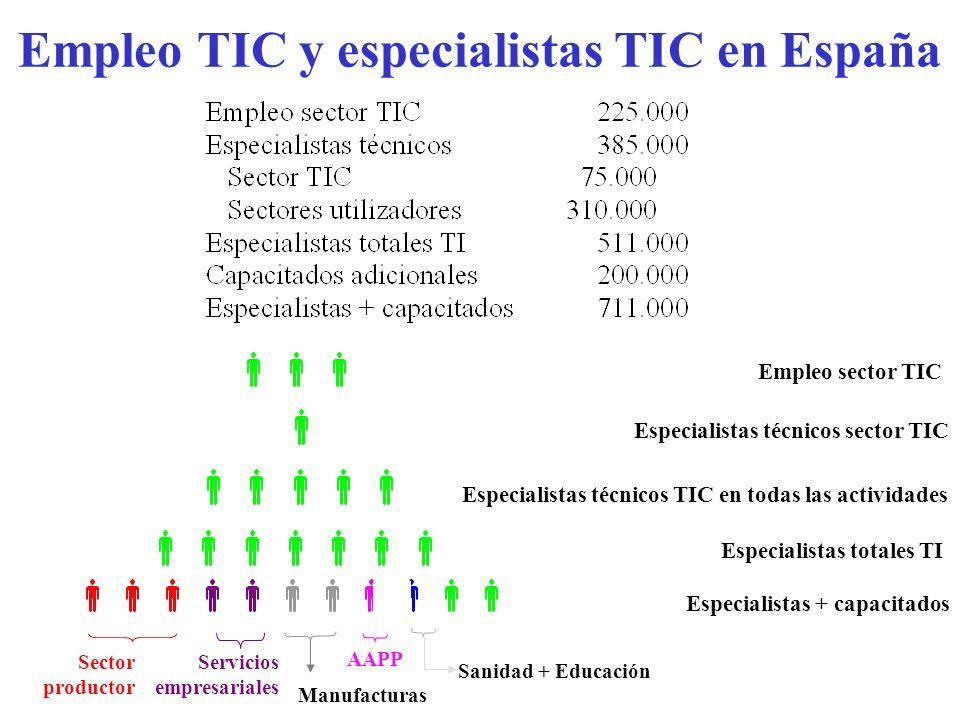 Empleo TIC y especialistas TIC en España Especialistas totales TI Especialistas técnicos TIC en todas las actividades Especialistas técnicos sector TI