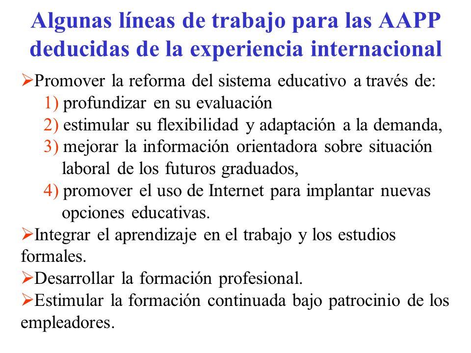 Algunas líneas de trabajo para las AAPP deducidas de la experiencia internacional Promover la reforma del sistema educativo a través de: 1) profundiza