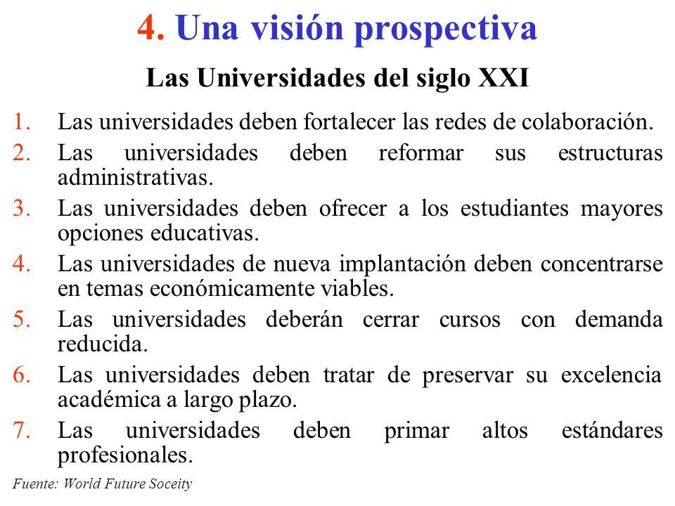 Las Universidades del siglo XXI 1.Las universidades deben fortalecer las redes de colaboración. 2.Las universidades deben reformar sus estructuras adm