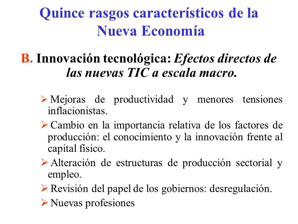 B. Innovación tecnológica: Efectos directos de las nuevas TIC a escala macro. Mejoras de productividad y menores tensiones inflacionistas. Cambio en l