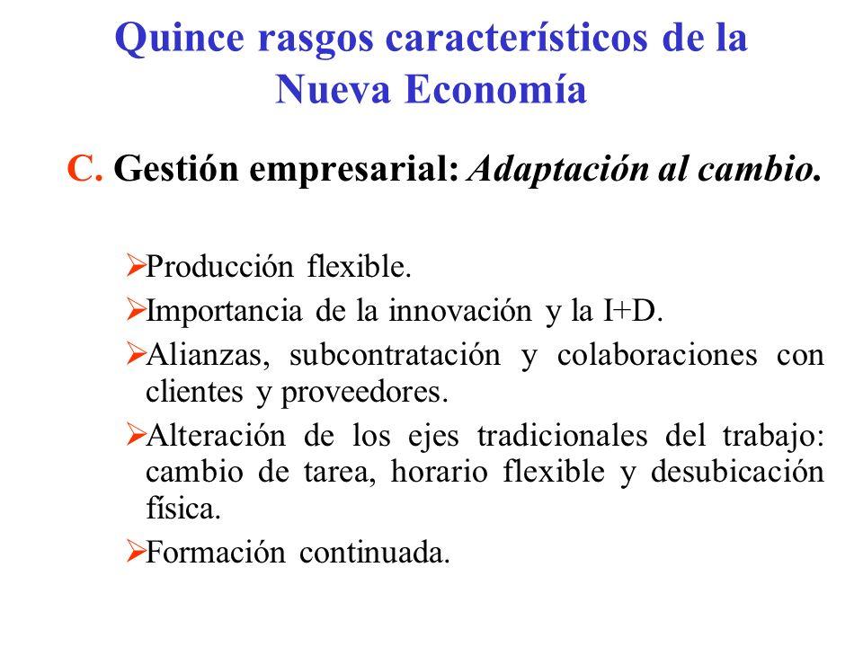 C. Gestión empresarial: Adaptación al cambio. Producción flexible. Importancia de la innovación y la I+D. Alianzas, subcontratación y colaboraciones c