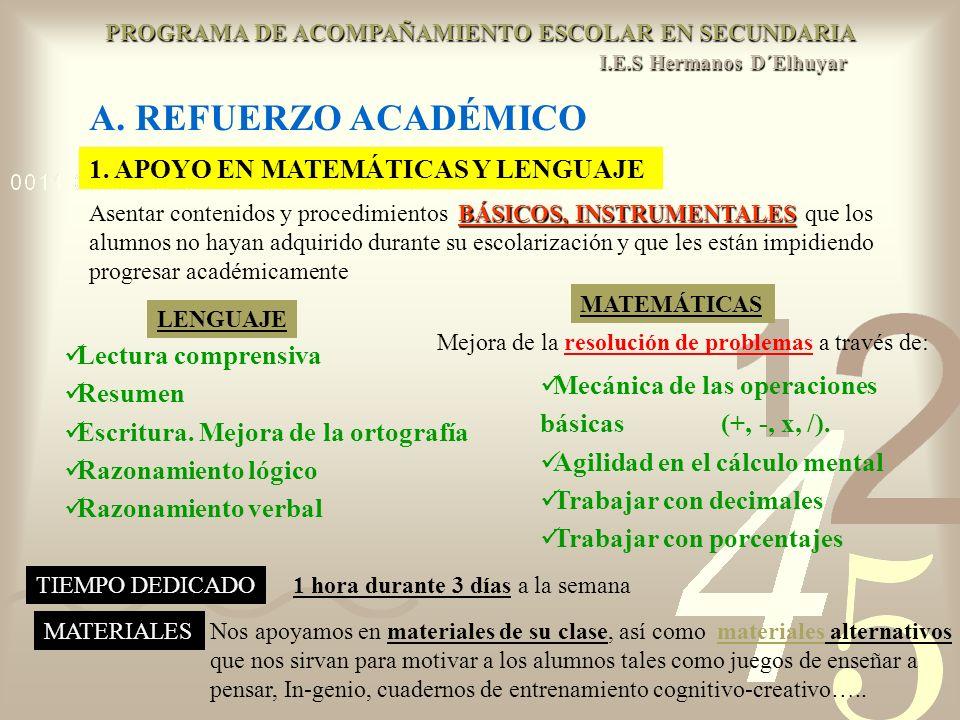 2.APOYO EN LAS TAREAS ESCOLARES DE SU CURSO ACTUAL Los propios de sus asignaturas 3.