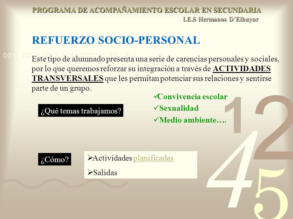 REFUERZO SOCIO-PERSONAL Este tipo de alumnado presenta una serie de carencias personales y sociales, por lo que queremos reforzar su integración a tra