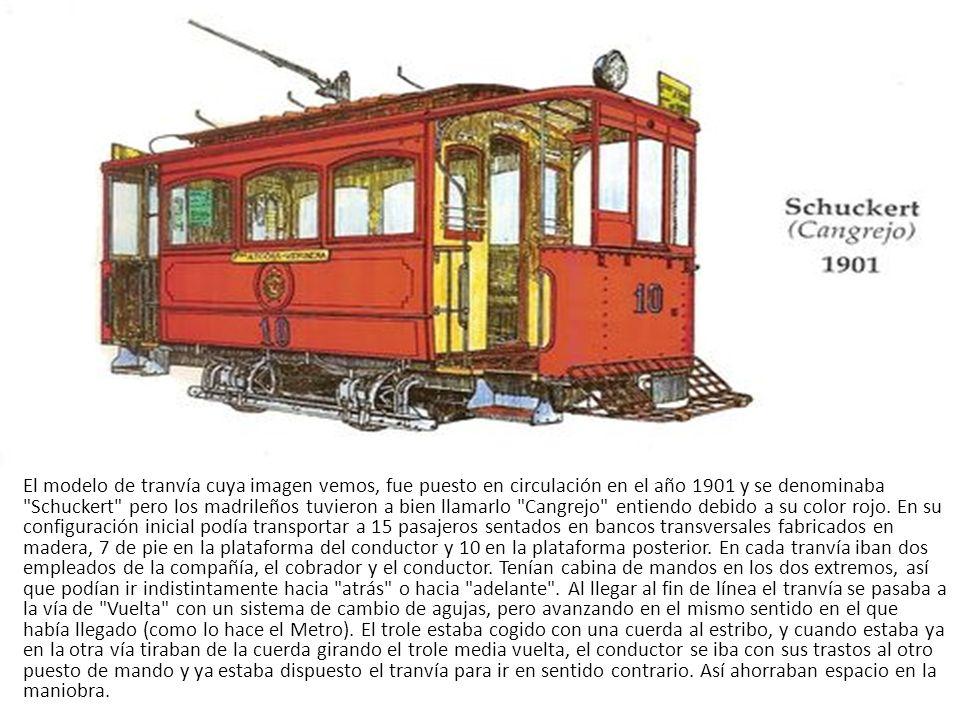 Tranvía de Sangre entrando en la calle Alcalá (1900). estos tranvías circulaban en ambos sentidos por la misma vía pues al llegar a la última parada d