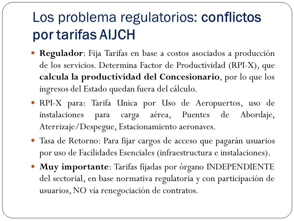Los problema regulatorios: conflictos por tarifas AIJCH Regulador: Fija Tarifas en base a costos asociados a producción de los servicios.
