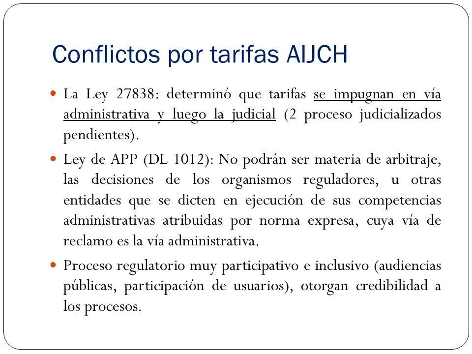 Conflictos por tarifas AIJCH La Ley 27838: determinó que tarifas se impugnan en vía administrativa y luego la judicial (2 proceso judicializados pendientes).