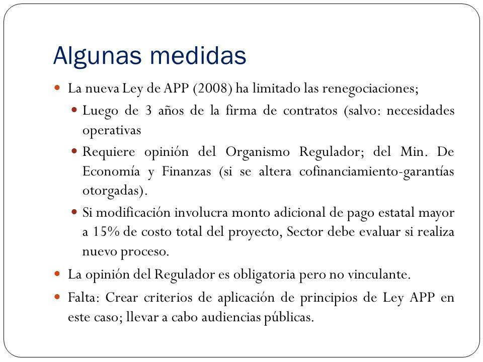 Algunas medidas La nueva Ley de APP (2008) ha limitado las renegociaciones; Luego de 3 años de la firma de contratos (salvo: necesidades operativas Requiere opinión del Organismo Regulador; del Min.
