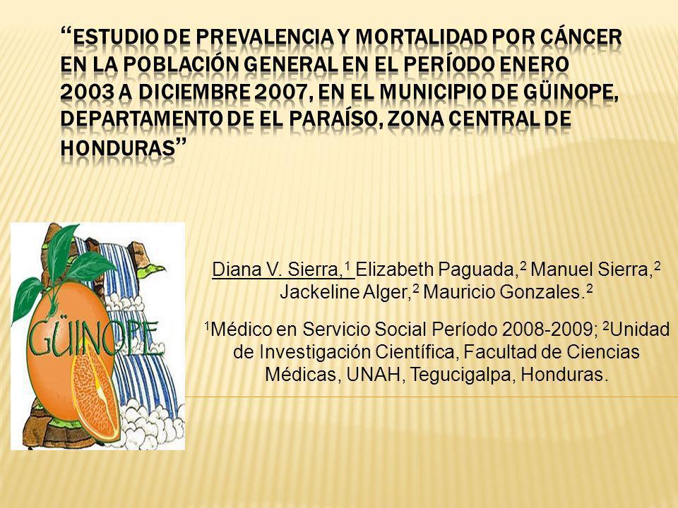 Antecedentes Honduras, no cuenta a nivel nacional con información completa y unificada sobre cáncer, por lo que, la Unidad de Investigación Científica, Facultad de Ciencias Médicas, UNAH, convocó a los Médicos en Servicio Social del período 2008-2009 a realizar un trabajo de investigación con la finalidad de dimensionar la magnitud de la problemática por cáncer en Honduras.