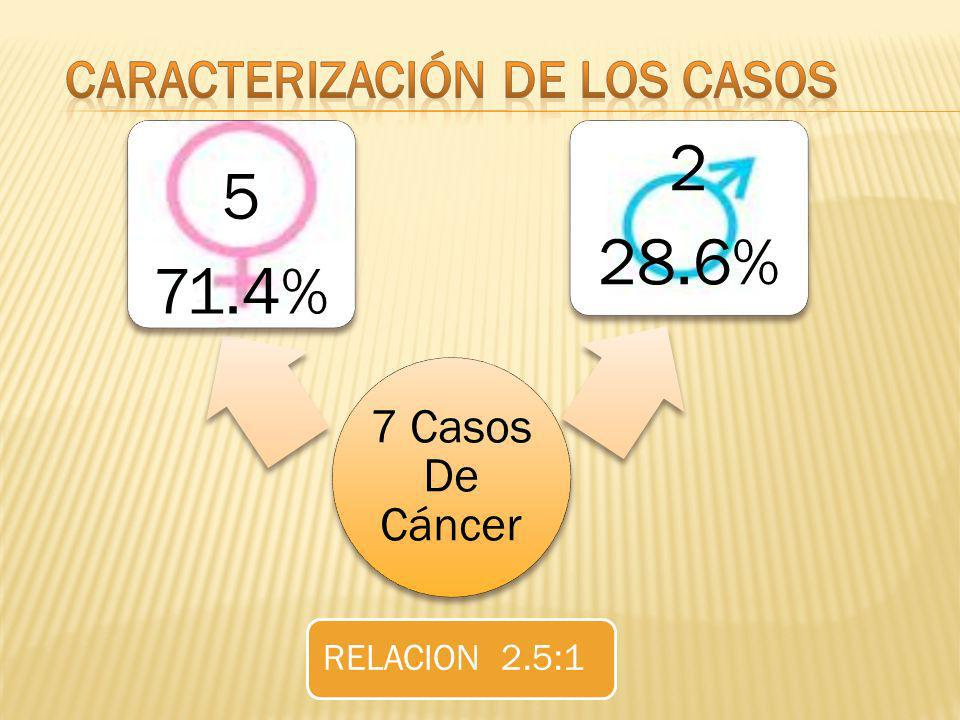 7 Casos De Cáncer 5 71.4% 2 28.6% RELACION 2.5:1