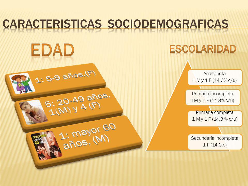 Analfabeta 1 M y 1 F (14.3% c/u) Primaria incompleta 1M y 1 F (14.3% c/u) Primaria completa 1 M y 1 F (14.3 % c/u) Secundaria incompleta 1 F (14.3%)