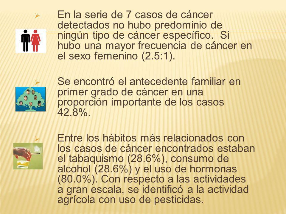 En la serie de 7 casos de cáncer detectados no hubo predominio de ningún tipo de cáncer específico.