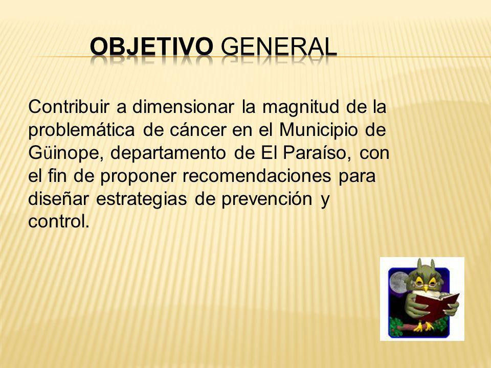 Contribuir a dimensionar la magnitud de la problemática de cáncer en el Municipio de G ü inope, departamento de El Paraíso, con el fin de proponer recomendaciones para diseñar estrategias de prevención y control.