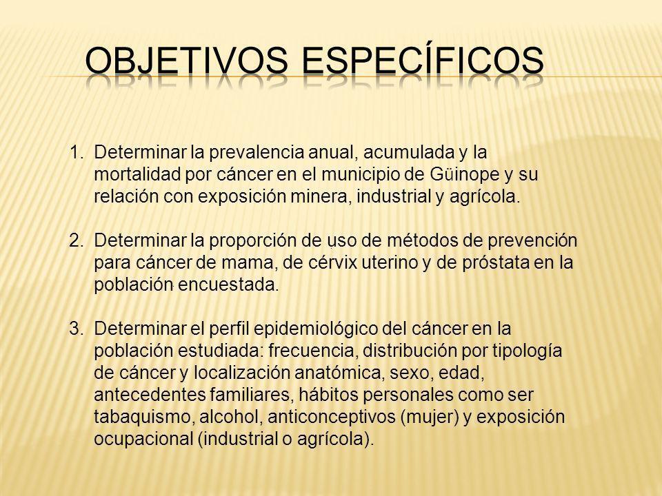 1.Determinar la prevalencia anual, acumulada y la mortalidad por cáncer en el municipio de G ü inope y su relación con exposición minera, industrial y agrícola.