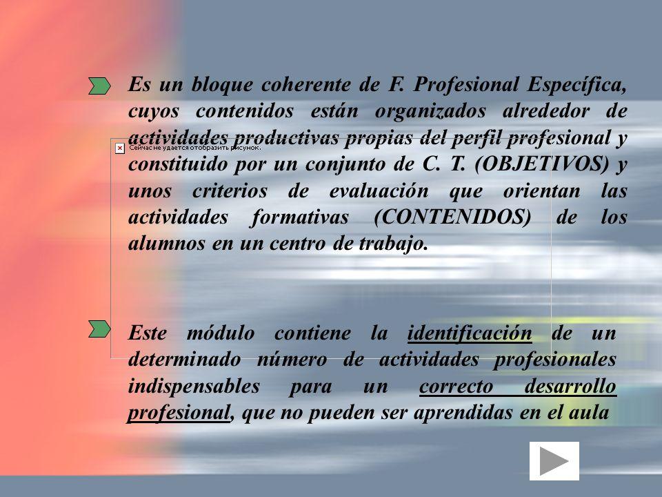 Es un bloque coherente de F. Profesional Específica, cuyos contenidos están organizados alrededor de actividades productivas propias del perfil profes