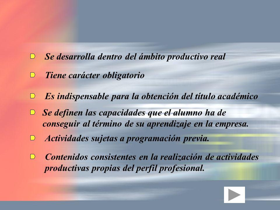 Se desarrolla dentro del ámbito productivo real Tiene carácter obligatorio Es indispensable para la obtención del título académico Se definen las capa