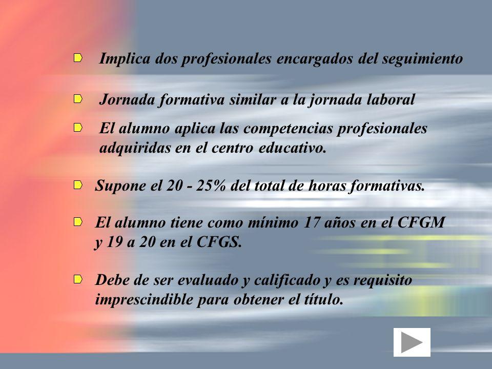 Implica dos profesionales encargados del seguimiento Jornada formativa similar a la jornada laboral El alumno aplica las competencias profesionales ad