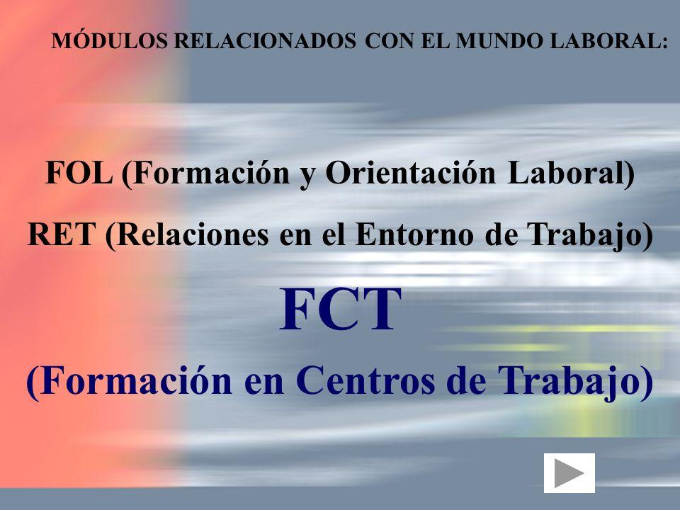 MÓDULOS RELACIONADOS CON EL MUNDO LABORAL: FOL (Formación y Orientación Laboral) RET (Relaciones en el Entorno de Trabajo) FCT (Formación en Centros d