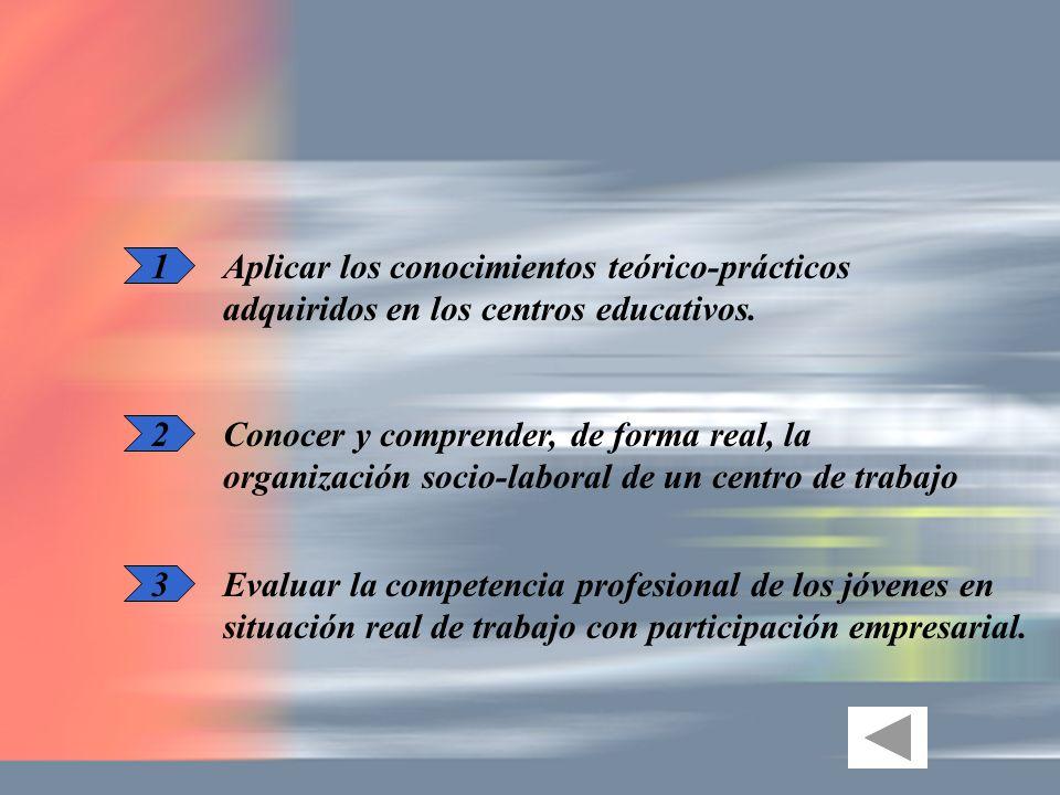 1 Aplicar los conocimientos teórico-prácticos adquiridos en los centros educativos. 2 3 Conocer y comprender, de forma real, la organización socio-lab