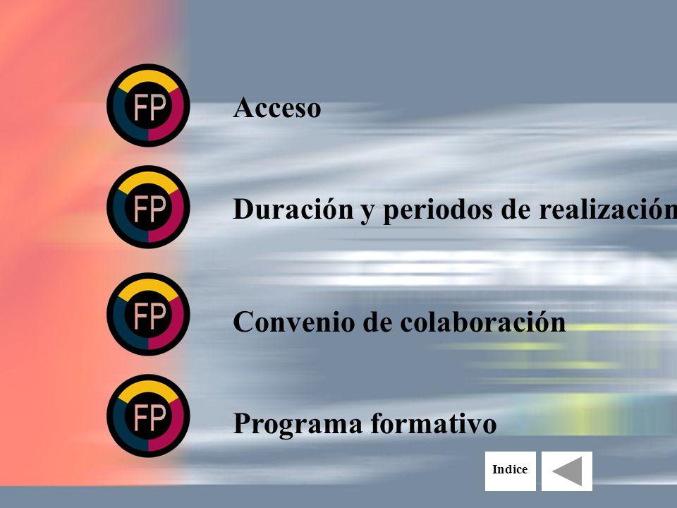 Acceso Duración y periodos de realización Convenio de colaboración Programa formativo Indice